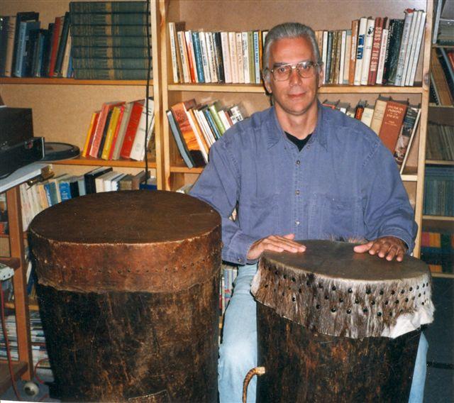 Robin on Nigerian drums